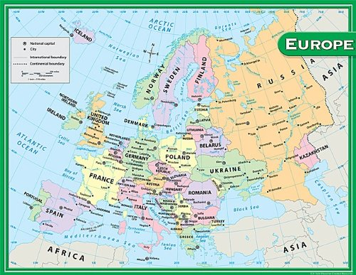 Amazon.com : Teacher Created Resources Europe Map Chart, Multi Color ...