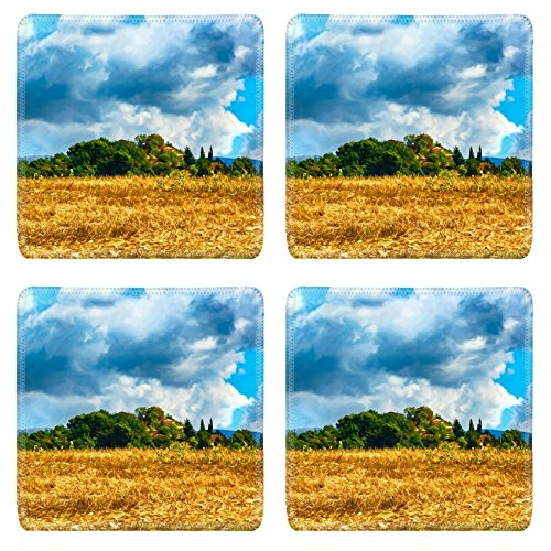 msd-natural-rubber-square-coasters-set-of-4-image-of-sky-rural-farm-agriculture-field