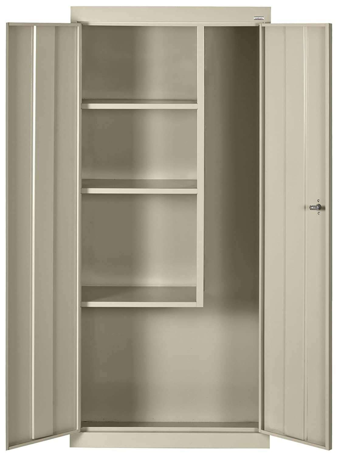 "Sandusky Lee VFC1301566-07 Putty Steel Janitorial/Supply Cabinet, 3 Shelves, Cam Locking System, Powder Coat Finish, 66"" Height x 30"" Width x 15"" Depth"