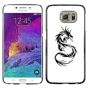 rígido protector delgado Shell Prima Delgada Casa Carcasa Funda Case Bandera Cover Armor para Samsung Galaxy S6 SM-G920 /Dragon Tattoo Black White Art/ STRONG