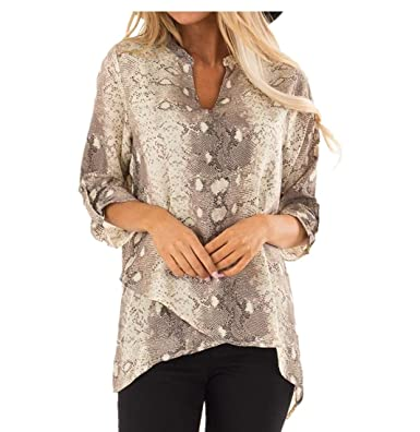 516c9bd6617bf Highpot Women Chiffon Roll Up Sleeves V-Neck Shirt Snake Skin Print Tops  Blouse at Amazon Women s Clothing store
