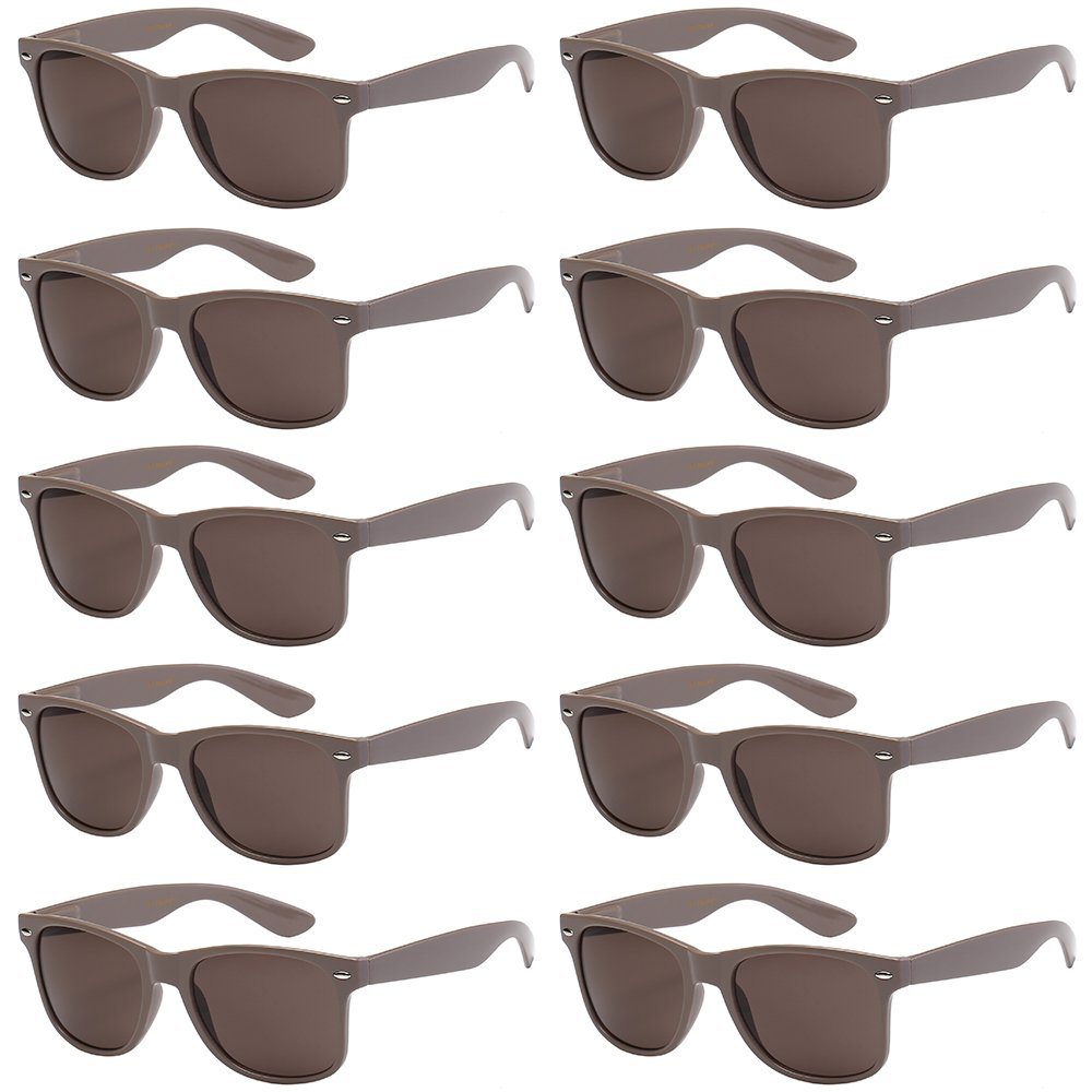 WHOLESALE UNISEX 80'S RETRO STYLE BULK LOT PROMOTIONAL SUNGLASSES - 10 PACK (Taupe / Ash Brown, 52)