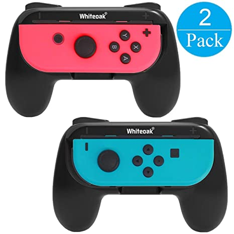 Whiteoak Joy-Con Grip, [Upgraded Version] Wear-resistant Joy-con Handle  Controller Grip Kit for Nintendo Switch, 2 Pack (Black)