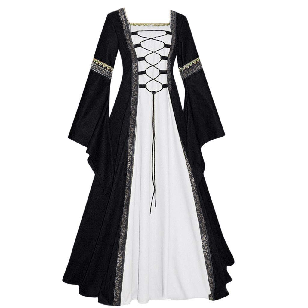 Womens Renaissance Medieval Costume Dress Lace up Irish Over Long Dresses Cosplay Retro Gown Costume Dress by Sunyastor Black