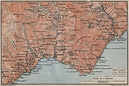 Maiori Italy Map.Amazon Com Amalfi Coast Maiori Minori Vietri Cava De Tirreni
