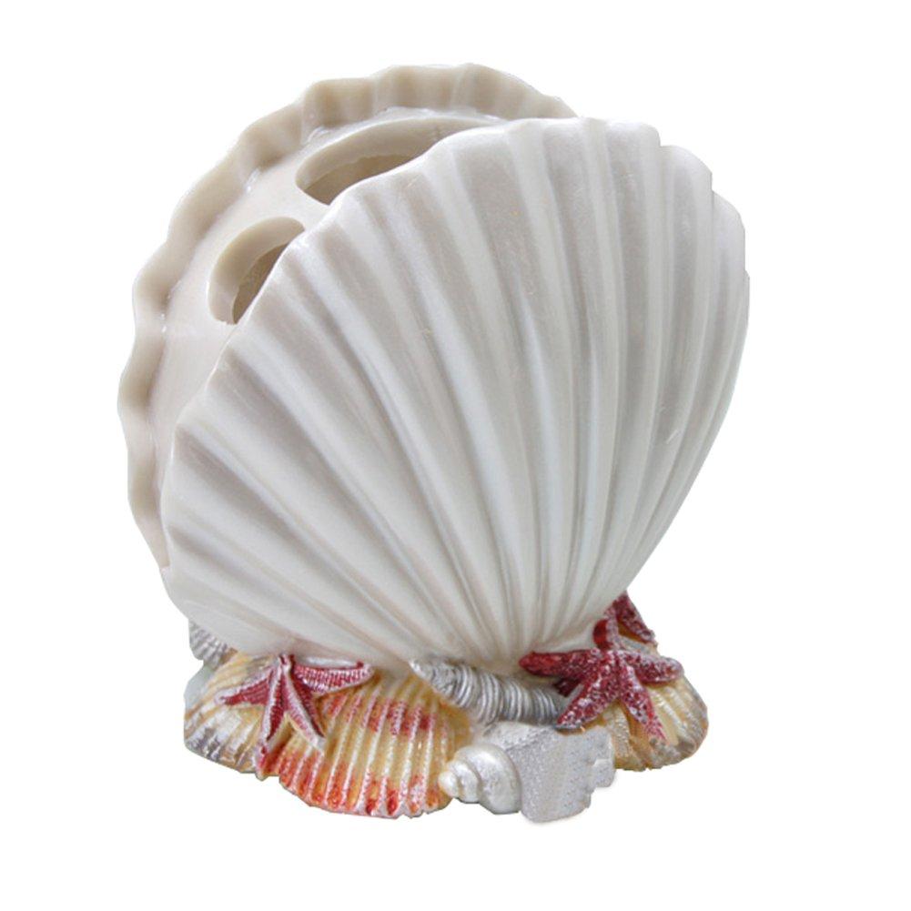 Porta spazzolino Portapenne Bagno Scrivania Organizzatore di stoccaggio Dentifricio Stand Holder-White Sea Shell