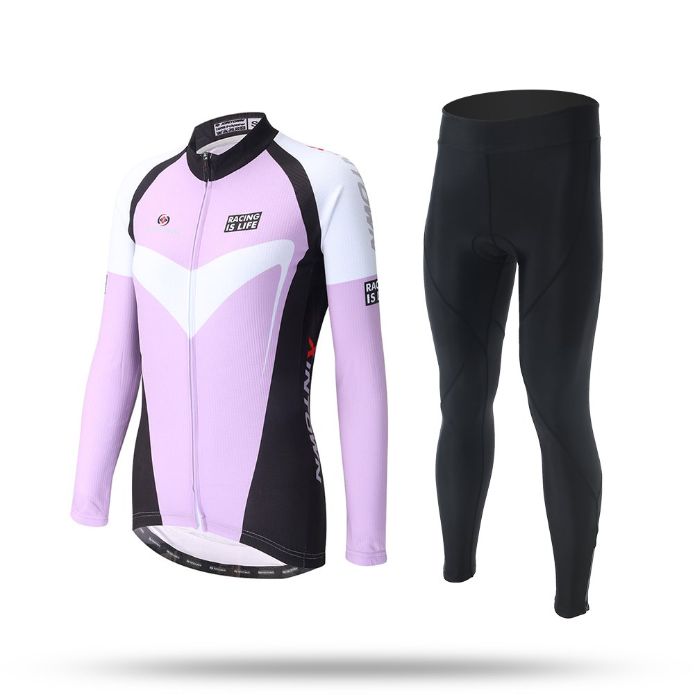 Qsjb Ultra Leichtgewicht-Herbst Winter Lila Frauen Radfahren Jersey Bike Langarm Jersey Top + Lange Set Fahrrad Cycle Shirt Lätzchen Anzug