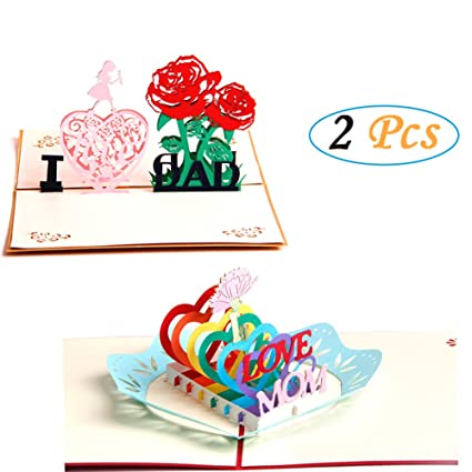 Amazon Paper Spiritz 2pc Pop Up Cards For Mom And Dad For