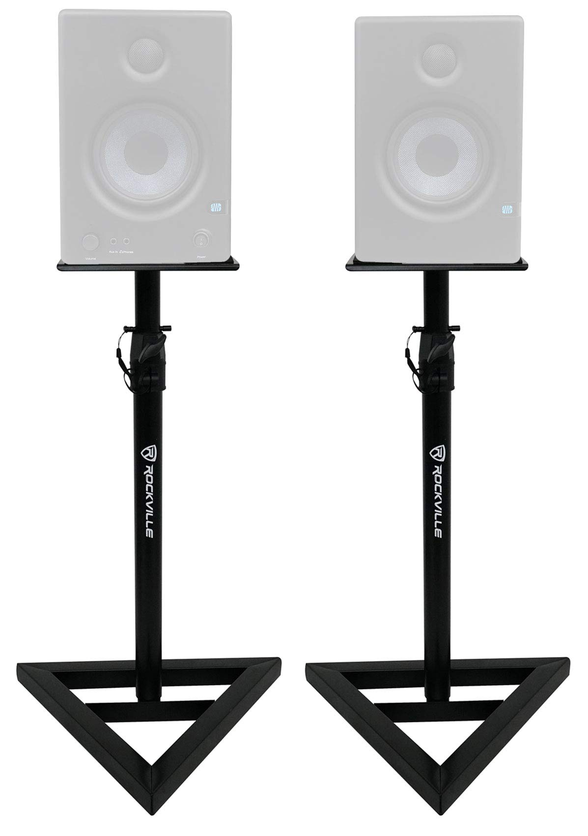 (2) Rockville Adjustable Studio Monitor Speaker Stands For Presonus Eris E4.5