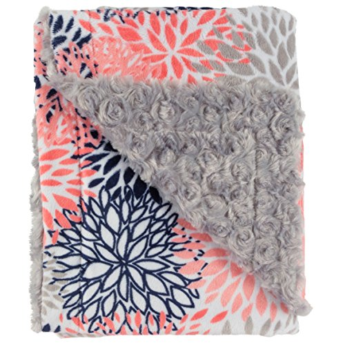 Ultra Soft Plush Baby Receiving Blanket - Luscious, Luxurious and Cuddly Minky Reversible Blankie - Multicolor Baby Bloom - 30