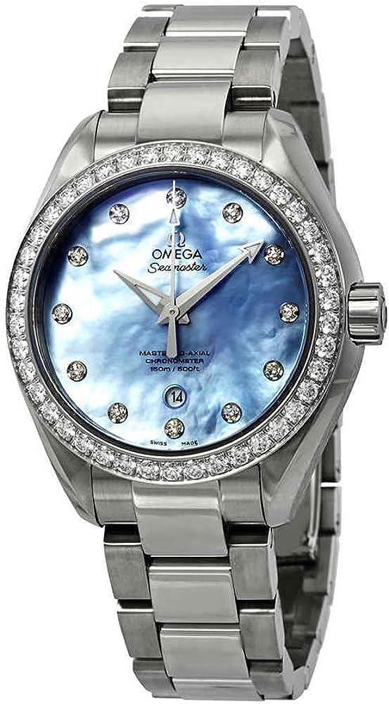 Omega 23115342057002 - Reloj automático para mujer con esfera de nácar de lavanda Aqua Terra