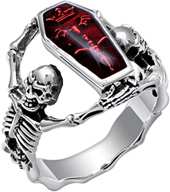 Stainless Steel 2 Color Vampire Skull Face Biker Ring