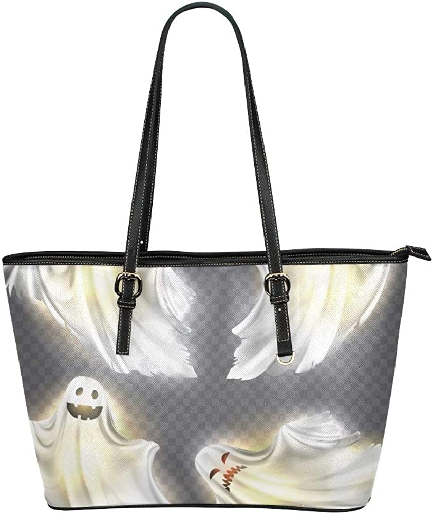 Totes Bag Ghost Character Expressions Leather Hand Totes Bag Causal Handbags Zipped Shoulder Organizer For Lady Girls Womens Women Work Bag