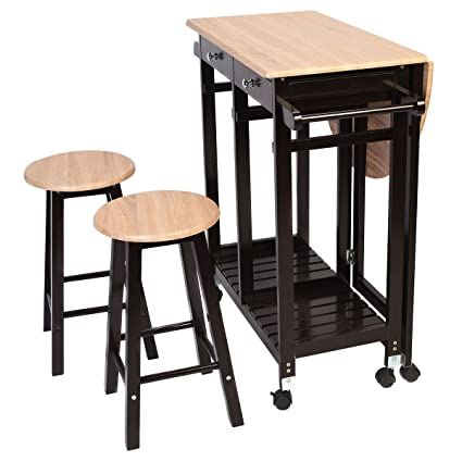 Amazon 3pc wood kitchen island rolling cart set dinning drop 3pc wood kitchen island rolling cart set dinning drop leaf table w2 stools new watchthetrailerfo