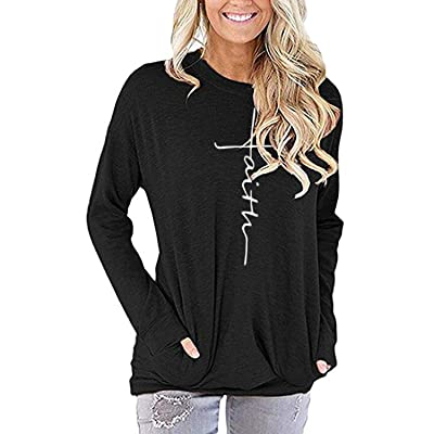 AELSON Women's Casual Faith Printed Round Neck Sweatshirt T-Shirts Tops Blouse with Pocket at Women's Clothing store