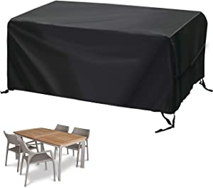 """Velway Patio Furniture Cover Outdoor, Waterproof Rectangular Patio Table Chair Sofa Set Cover, 67""""Lx37""""Wx28""""H, All Weather Oxford Tear-Resistant Material with Zipper Carrying Bag Windproof Buckles"""