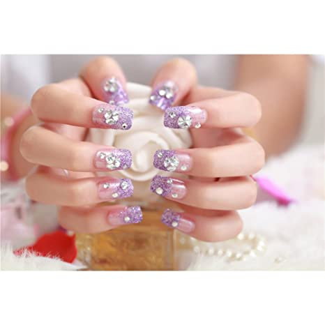Oshide 24pcs/lot Full Cover Noble Violeta Brillante Uñas Postizas Artificial con purpurina para decoración