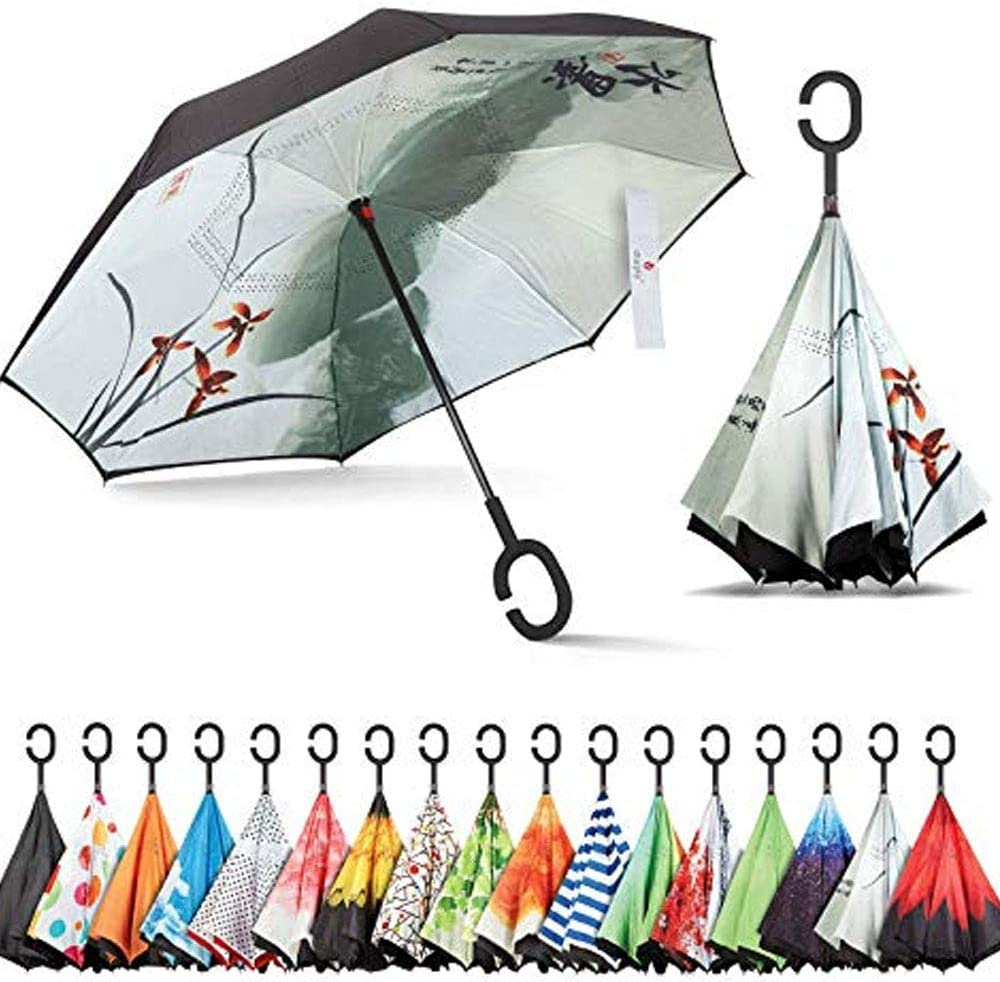 Double Layer Inverted Inverted Umbrella Is Light And Sturdy Poodle Black Jumping Motion Reverse Umbrella And Windproof Umbrella Edge Night Reflection