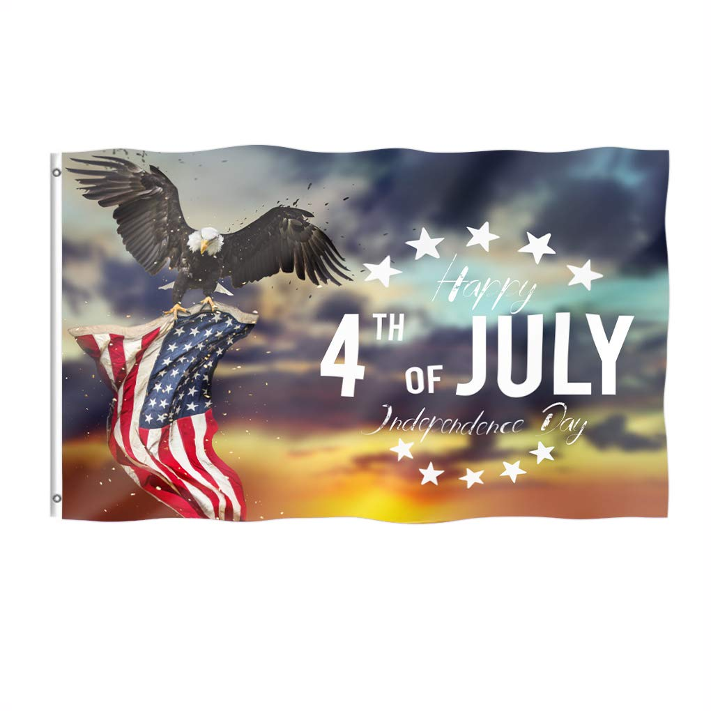 Tititex Soaring Bald Eagle Garden Flag 3 x 5 Ft, 4th of July Memorial Independence Day Flying Eagle with Sunset Double Stitched with Brass Grommets for Outdoor Indoor Yard Home Decor