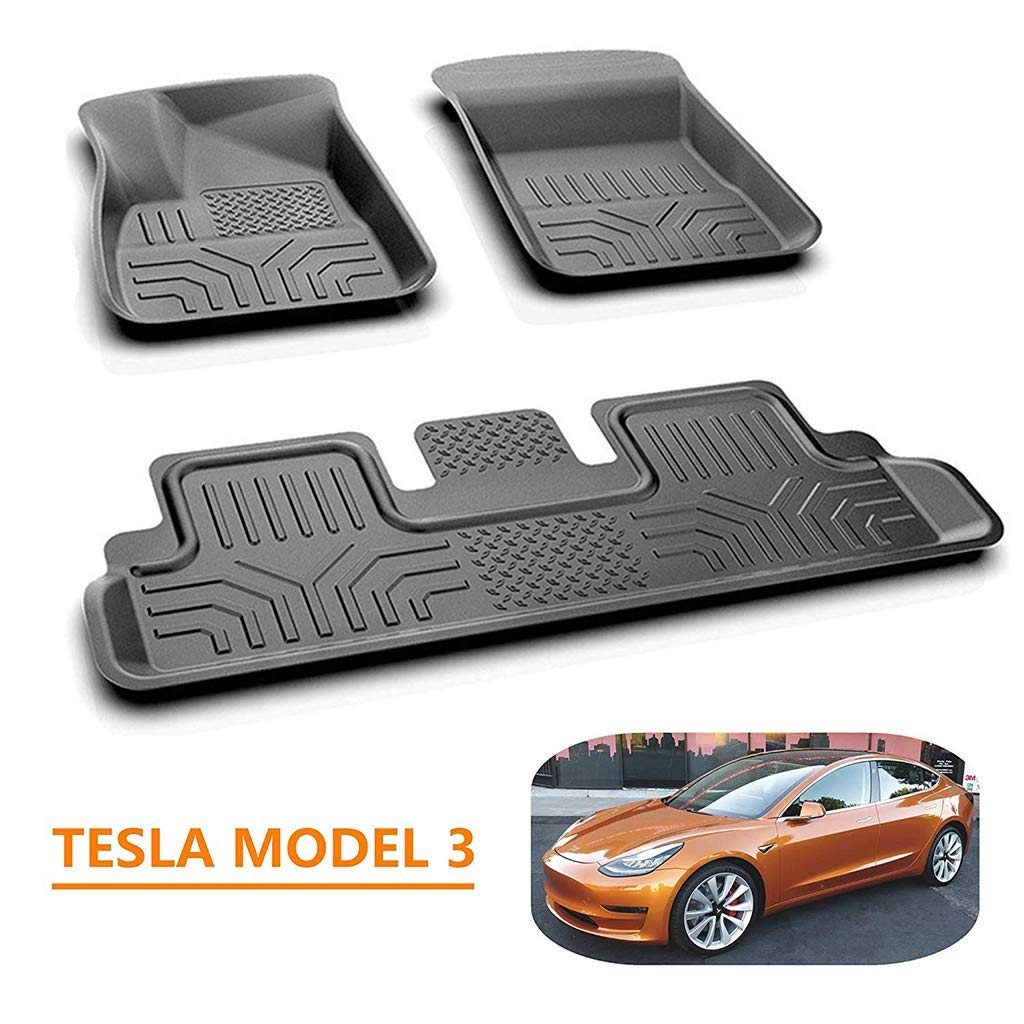 Hiyougen 3D Upgraded Full-Edge Protection Floor Mats for Tesla Model 3 Car, All-Weather Fit Car Front and Rear TPE Environmental Mats Set, Black by Hiyougen