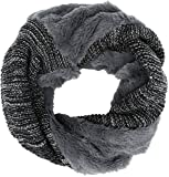 Sakkas 16107 - Sele Short Two Textured Faux Fur Ribbed Knit Mixed Designed Infinity Scarf - Grey - OS