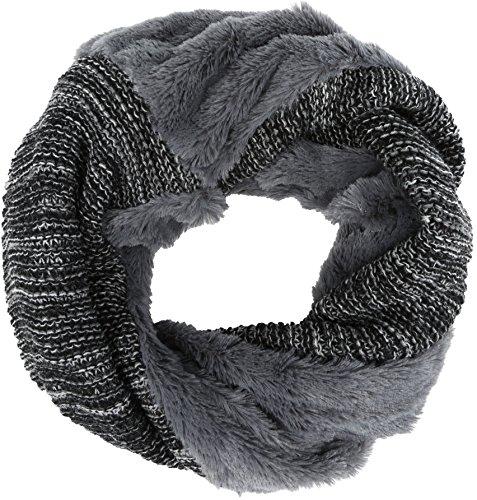 Sakkas 16107 - Sele Short Two Textured Faux Fur Ribbed Knit Mixed Designed Infinity Scarf - Grey - OS by Sakkas