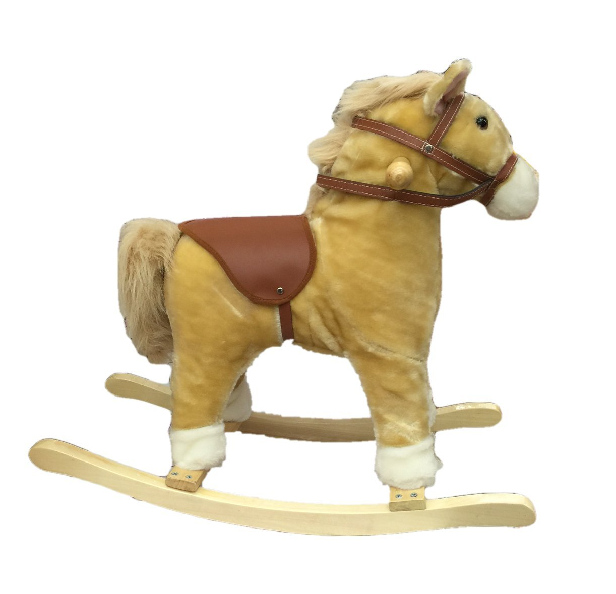 Manley Real Noise Blonde Plush 20-in. Rocking Horse with Saddle