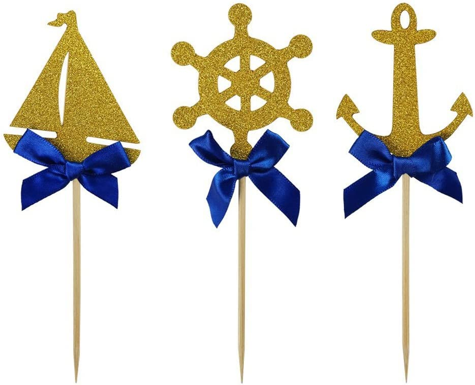 Shxstore Nautical Theme Cupcake Cake Toppers Picks Of Anchor Boat Rudder For Wedding Birthday Baby Shower Party Decor Supplies, 24 Counts