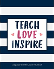 Teacher Lesson Planner: Weekly and Monthly Calendar Agenda with Inspirational Quotes | Academic Year August - July | Teach Love Inspire - Navy Striped (2019-2020)