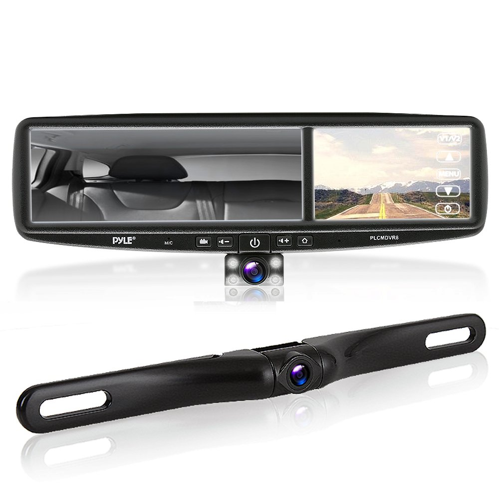 Pyle PLCMDVR8 HD Vehicle Backup System - 4.2' DVR Dual Camera Rearview Mirror Video Recording, Waterproof Night Vision Cam, 1080p Sound Around