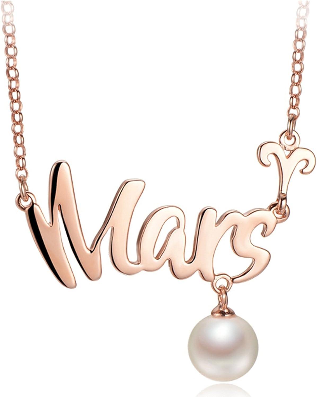Epinki Plata de Ley 925 Collar de Mujer Collar de Perlas Zodiaco Chino Colgante Cadena Mujeres Joyería Nupcial con Perla