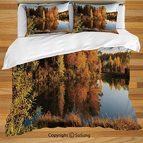 - Fall Decor King Size Bedding Duvet Cover Set,Lake in Sunset Rays Autumn Landscape Pond Woodland Outdoors Ecology Environment Decorative Decorative 3 Piece Bedding Set with 2 Pillow Shams,Multicolor
