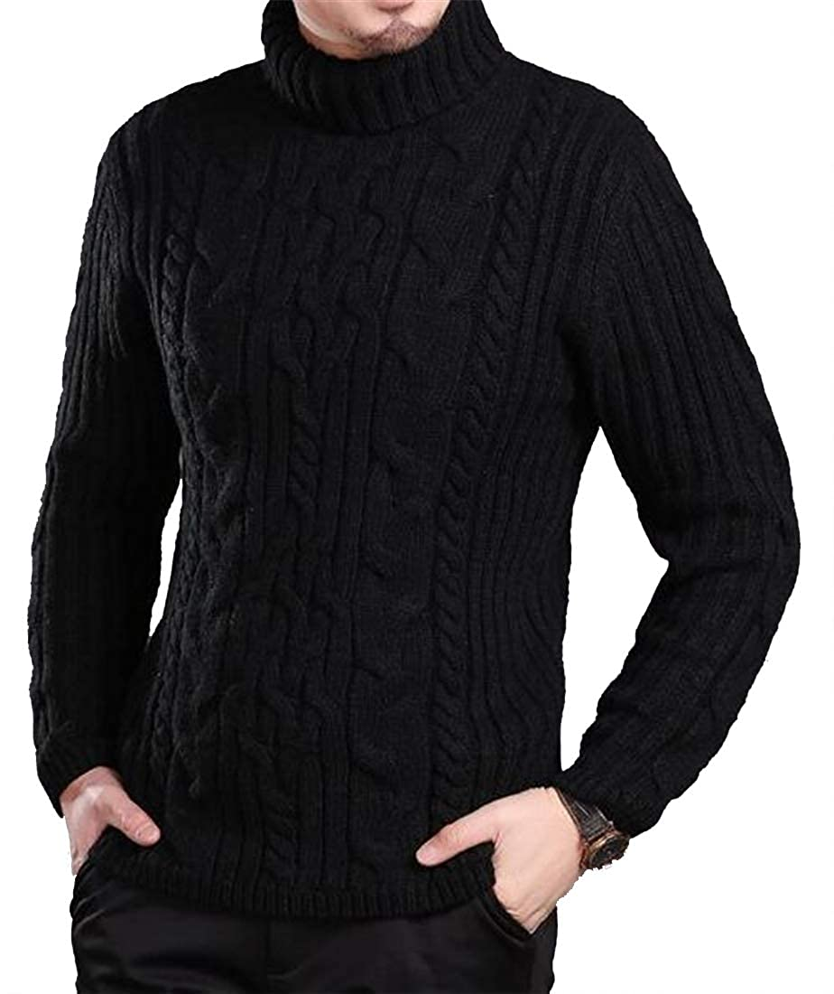 Jofemuho Mens Knitted Solid Turtle Neck Stretchy Slim Fall /& Winter Pullover Sweater Jumper