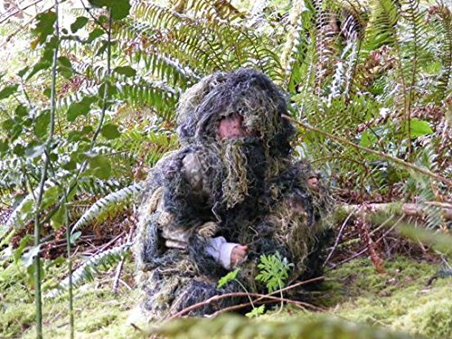 Kids Paintball Sniper 4-Piece Woodland Ghillie Suit - Large Rot-Proof Mildew Fire-Resistant Water-Repellant No UV Brighteners Added Non Allergenic