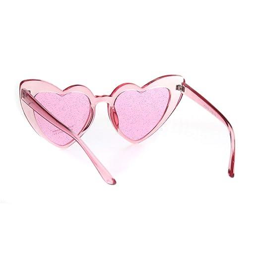 02c0644ceed22 Amazon.com  Womens Glitter Lens Heart Shape Plastic Valentine Cat Eye  Sunglasses All Pink  Clothing