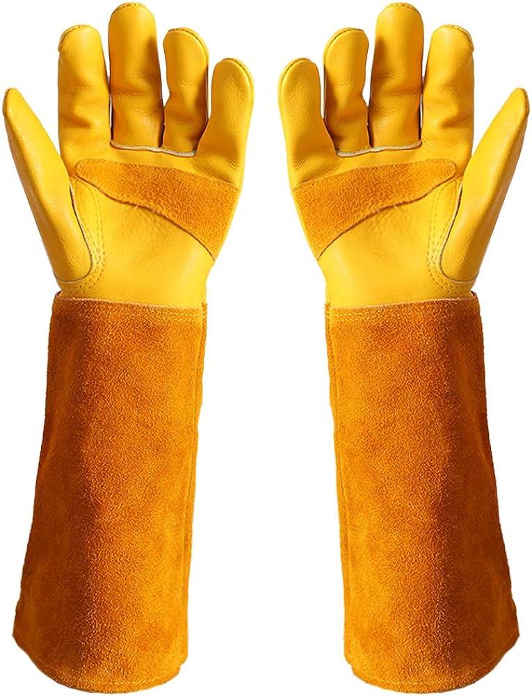 Women/men, Long gardening gloves, Thorn-proof rose pruning gloves, Cowhide leather Garden glovesDJLQOAD-L