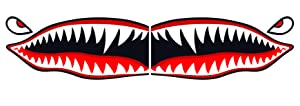 """Flying Tigers shark teeth decal sticker 3"""" tall x 7"""" long WWII Military Airplane"""