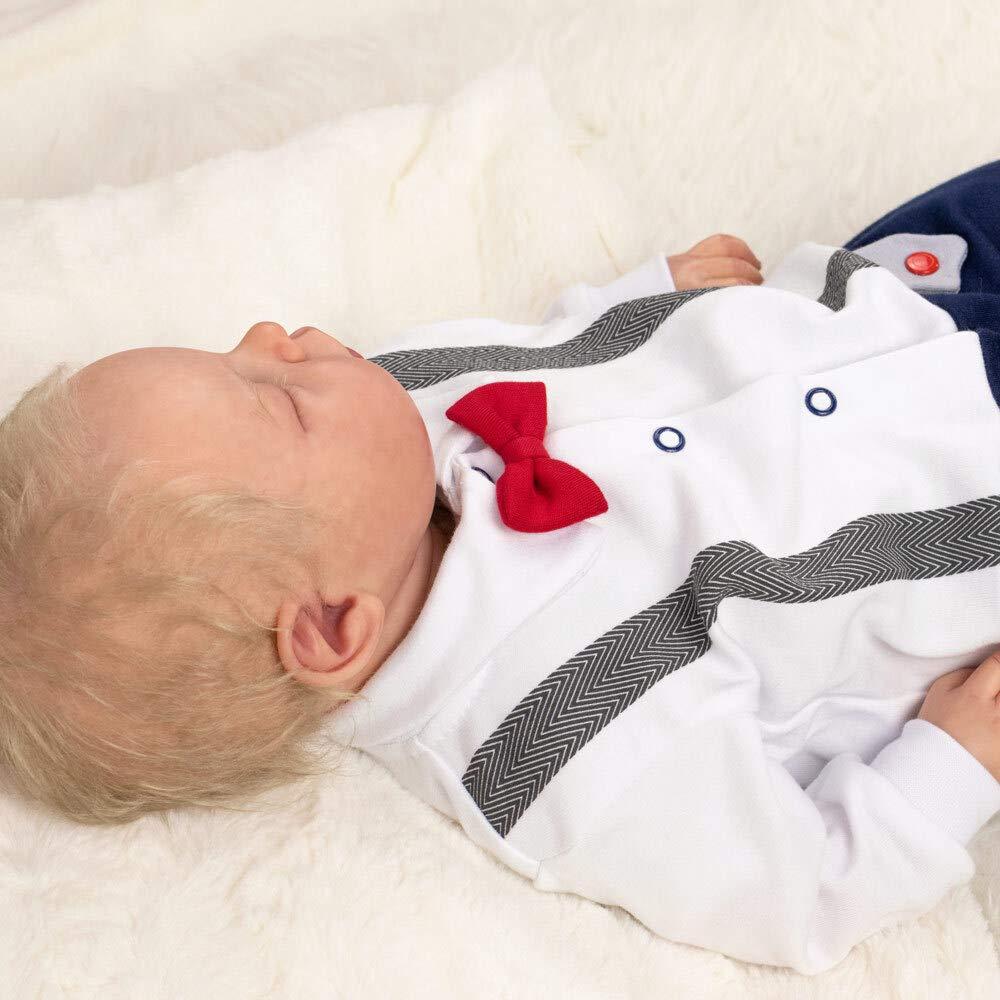 80 Gr/ö/ße: 9-12 Monate Baby Sweets Strampler wei/ß blau Festliches Baby Outfit f/ür Neugeborene /& Kleinkinder Motiv: Little Gentleman