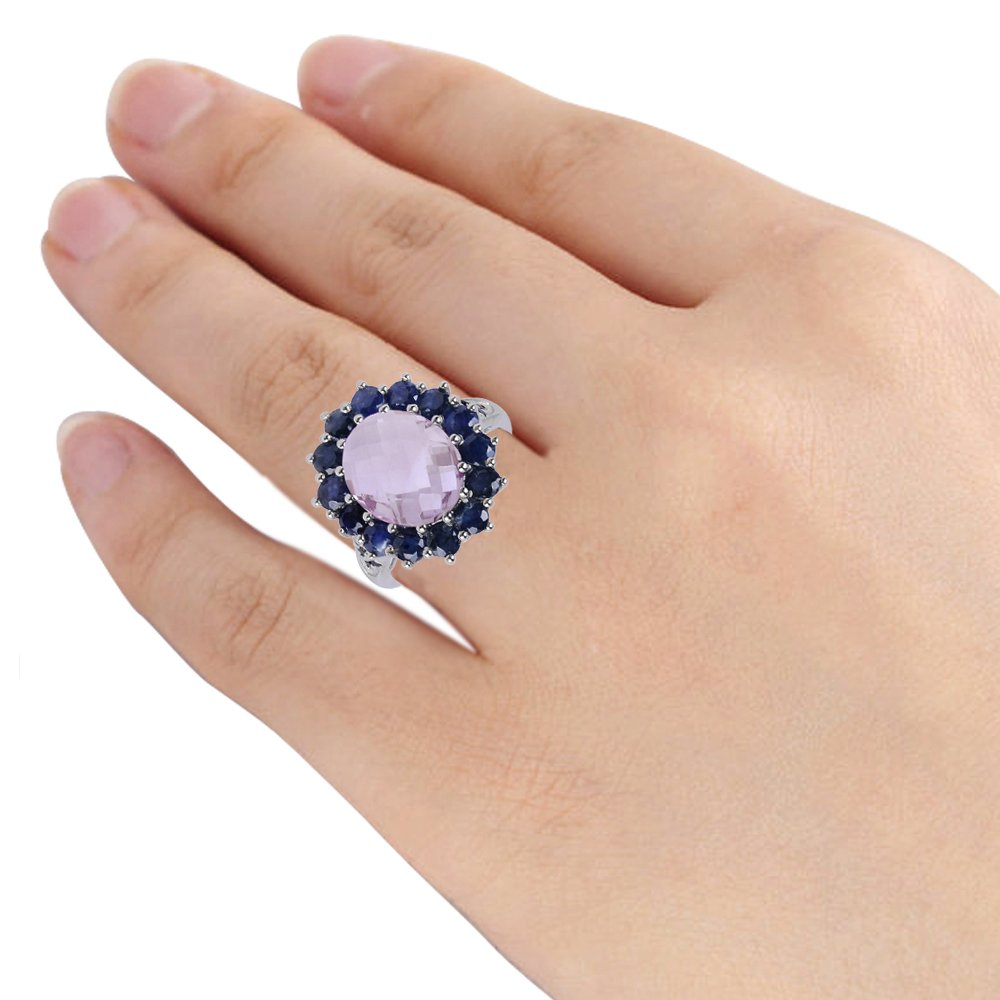 Oval Shaped Checkerboard Pink Amethyst, Sapphire and Spinel 925 Sterling Silver Ring for Women, February Birthstone, Perfect for Engagement, Anniversary, Free Gift Box (6.62 Cttw, 12x10 MM Oval) by Orchid Jewelry (Image #2)