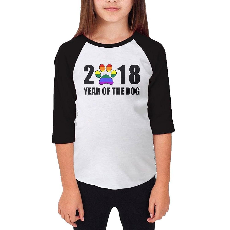 Baseball Tee T Shirts for Girls 2018 Year of The Dog Paw 3/4 Long Sleeve Raglan Jersey Blouse