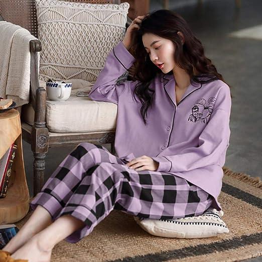 lxylllzs Pijama Mujer Invierno Algodon 2 Piezas,Pijama de algodón ...