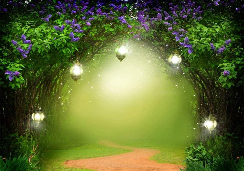 BuEnn Fondo Cuento Hadas 5X3FT Vinilo Selva Bosque Bokeh Lantern Elfo con Flores Frescas Ivy Arch Puerta Jard/ín Encantado Fotograf/ía Fondo para Chicas Princesa Fiesta Foto Accesorios Estudio YX901