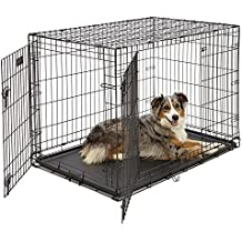 """MidWest iCrate 42"""" Double Door Folding Metal Dog Crate w/ Divider Panel, Floor Protecting """"Roller"""" Feet & Leak-Proof Plastic Tray; 42L x 28W x 30H Inches, Large Dog Breed"""