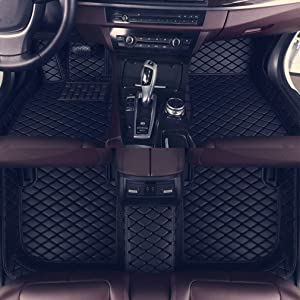 8X-SPEED Custom Car Floor Mats Fit for Audi A7 2019 Full Coverage All Weather Protection Waterproof Non-Slip Leather Liner Set Black