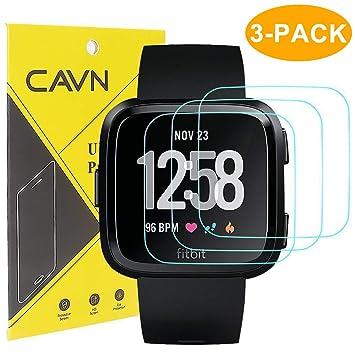 CAVN 3 Paquetes Fitbit Versa Protector de Pantalla de Vidrio Templado Protector de Pantalla para Fitbit Versa Smart Watch [2,5 d Borde Redondo] [9h ...