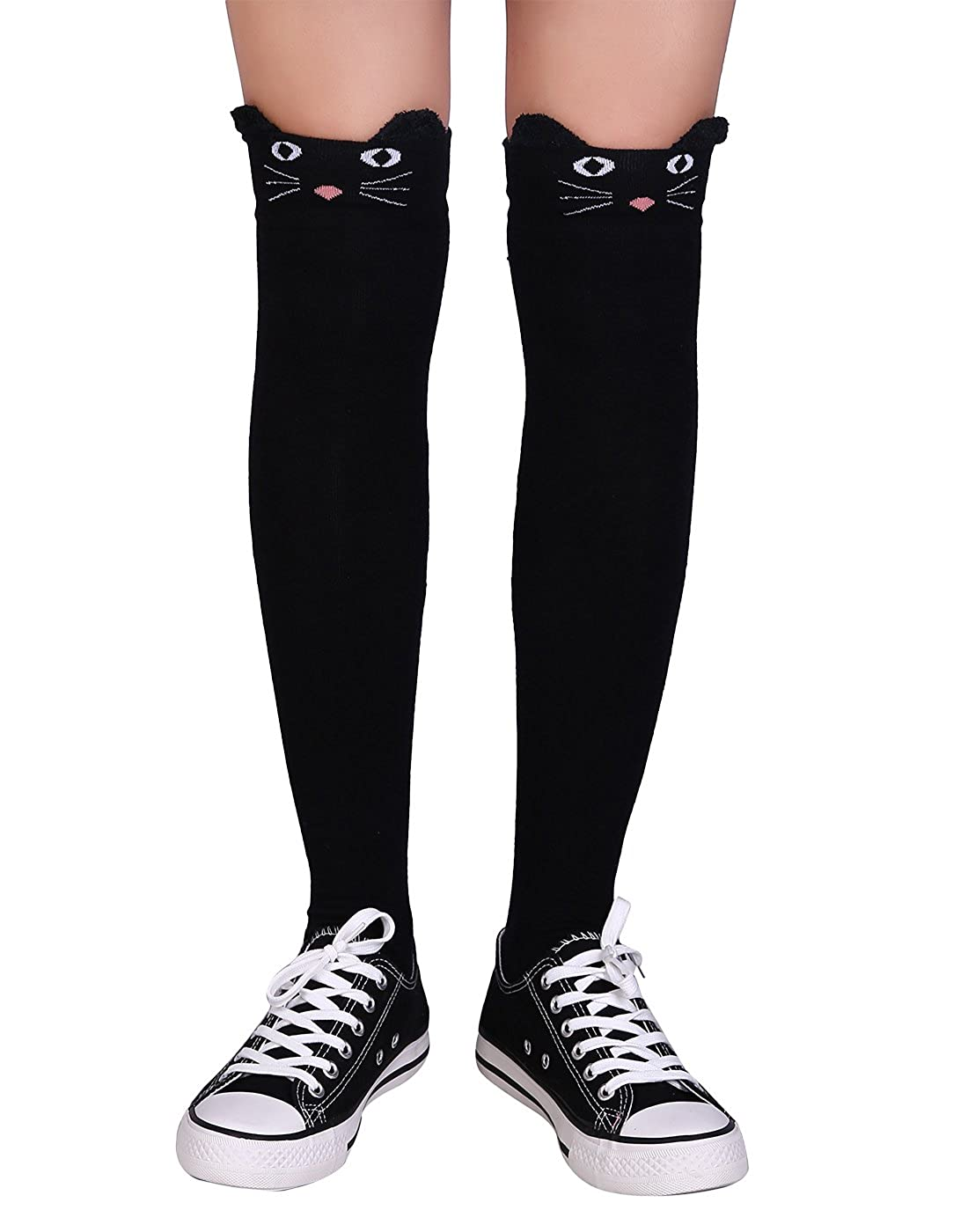 a15262dd4626d HDE Women's Cat Cartoon Animal Mock Thigh High Tights - Black Neko Cat  Stockings at Amazon Women's Clothing store: