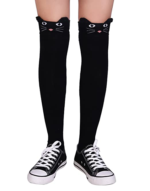 b8542a8cbdd HDE Women s Cat Cartoon Animal Mock Thigh High Tights - Black Neko Cat  Stockings  Amazon.ca  Clothing   Accessories