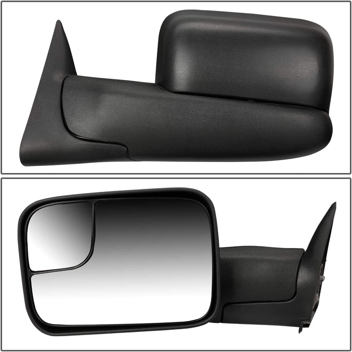 Right//Passenger For Dodge Ram Truck Manual Adjustment+Flip Up Tow Towing Side Mirror