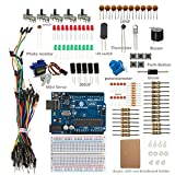 SunFounder Sidekick Basic Starter Kit w/ Breadboard, Jumper wires, Color Led, Resistors, Buzzer For Arduino UNO R3 Mega2560 Mega328 Nano (with Uno R3) - Including 42 Page Instructions Book