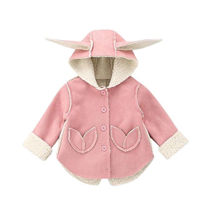 Kinder Mädchen Mantel Jacke Hasenohren Hoodie Wintermantel Outwear Kapuzenjacke